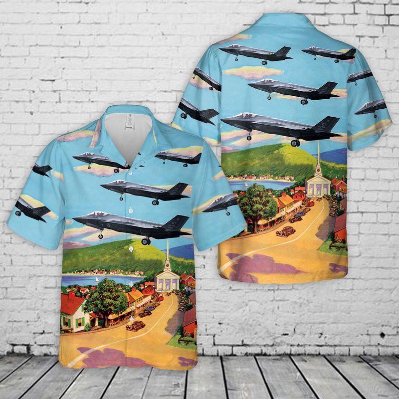 USAF Vermont Air National Guard 134th Fighter Squadron Lockheed Martin F-35A Lightning II Hawaiian Shirt