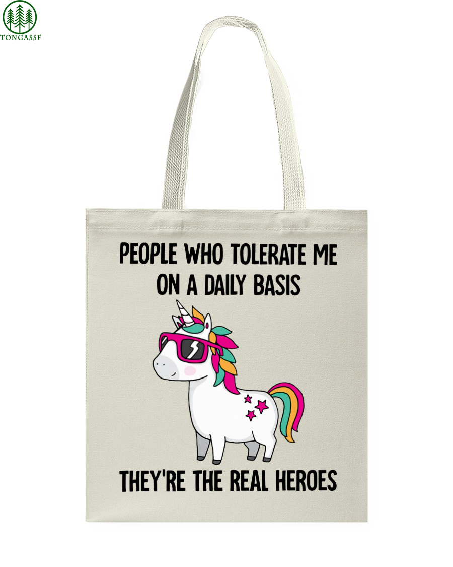 Unicorns People tolerate Me Tote Bag