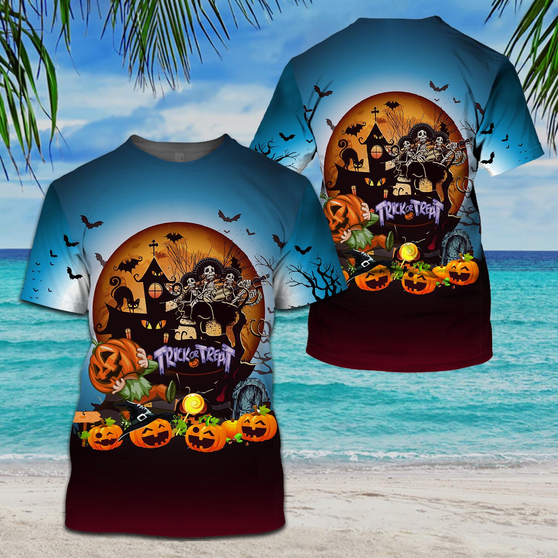 Pumpkin skull musician Halloween Trick or treat T shirt