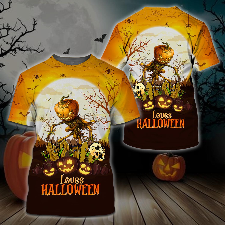 Pumpkin Farmer skull Happy Halloween 3D T-shirt