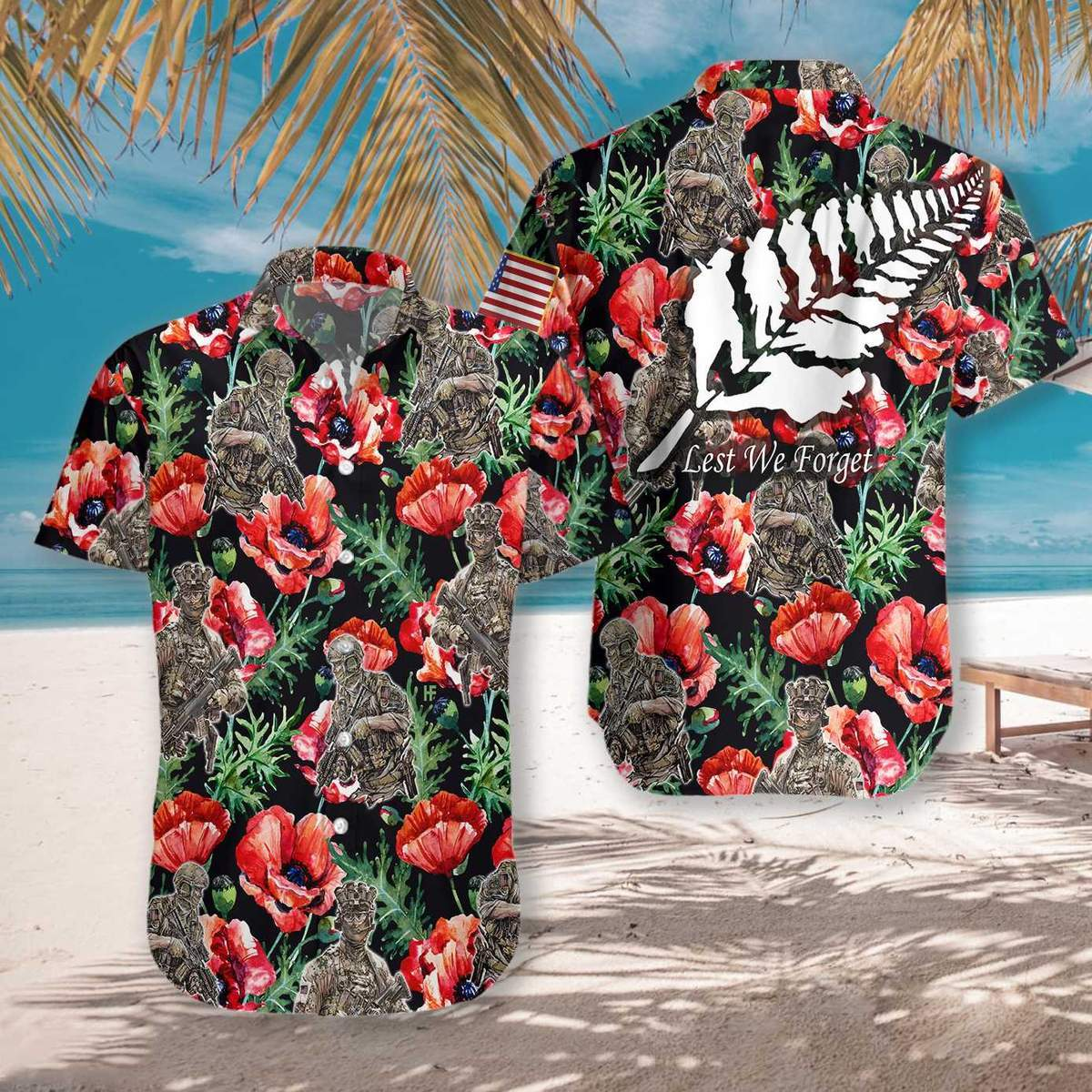 Veteran Less We Forget 3D Hawaiian Shirt