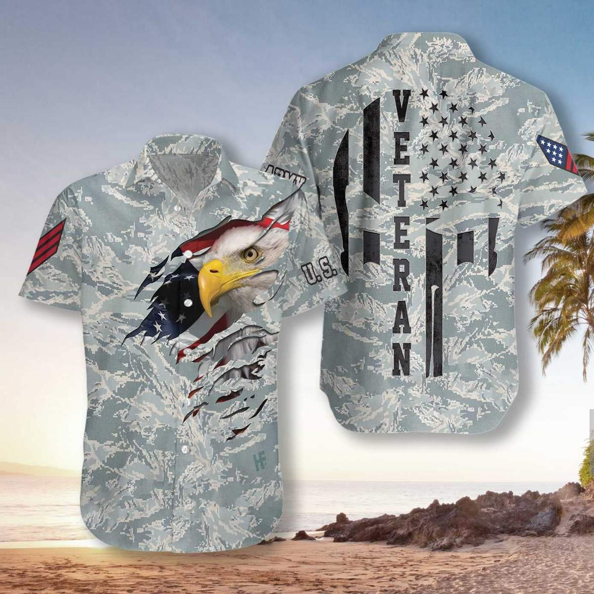 Veteran Proud US Airforce Camouflage Hawaiian Shirt