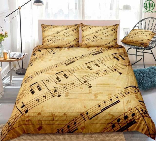 Vintage Music Notes Bedding Set