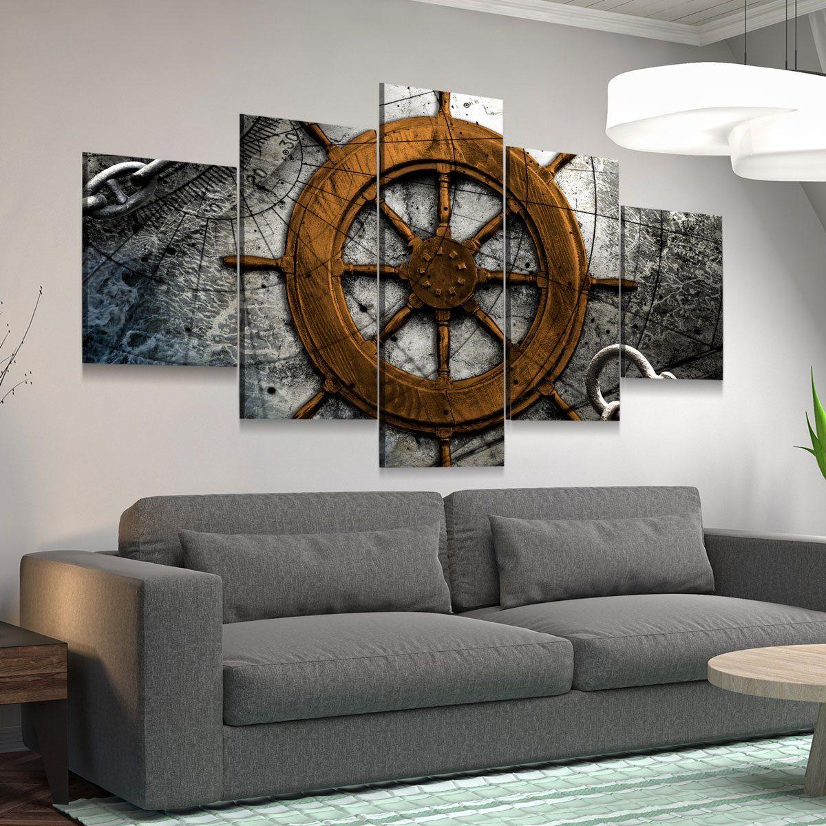 Vintage Nautical Collage V4 5 panel canvas wall art