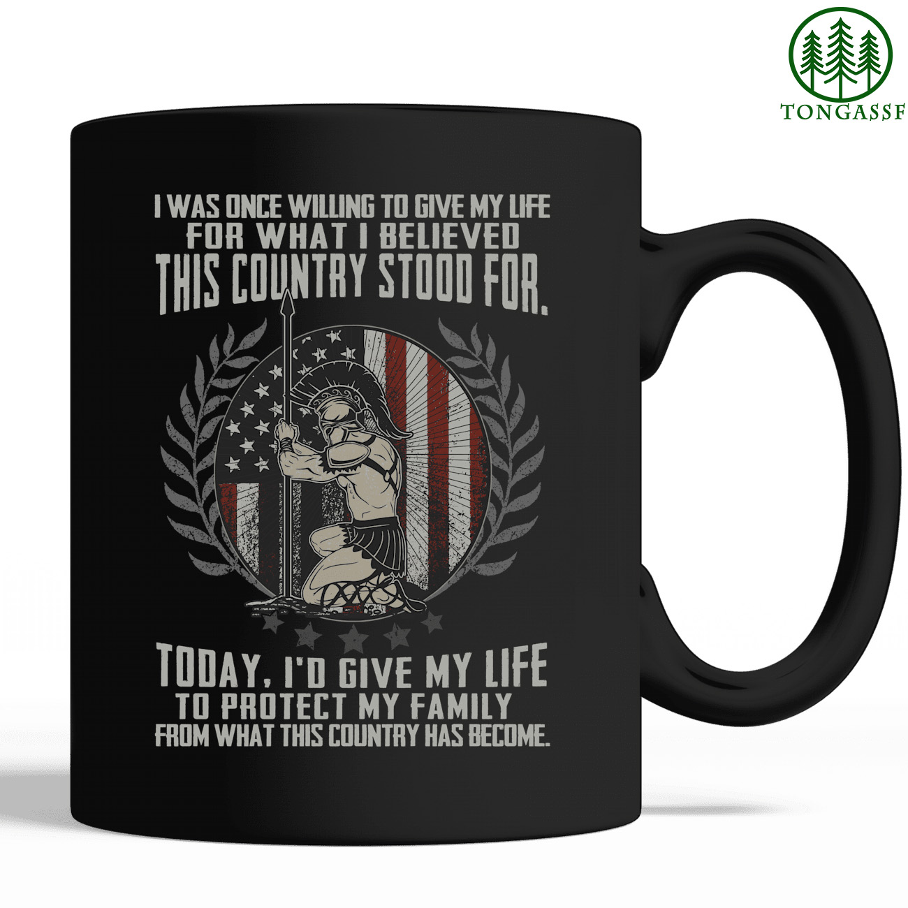 Warrior give life protect family American laurel wreath mug