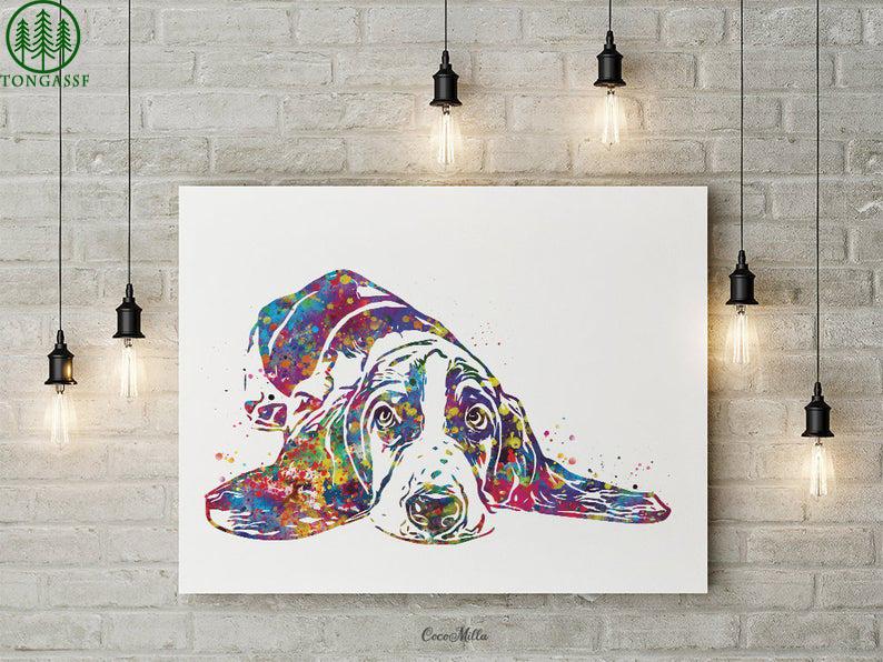 Watercolor Basset Dog lie Hound poster