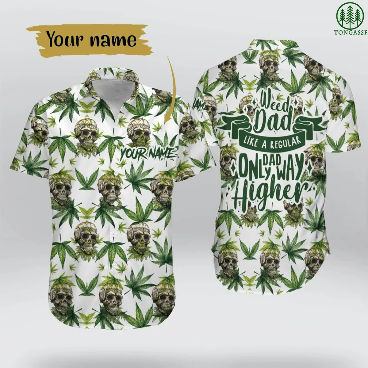 Weed Dad Skull Hawaiian Shirt