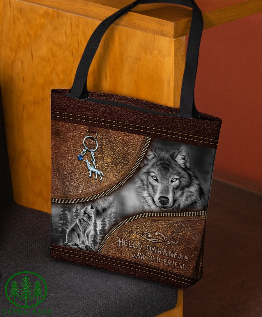 Wolf Hello Darkness Leather Print All-Over Tote Bag