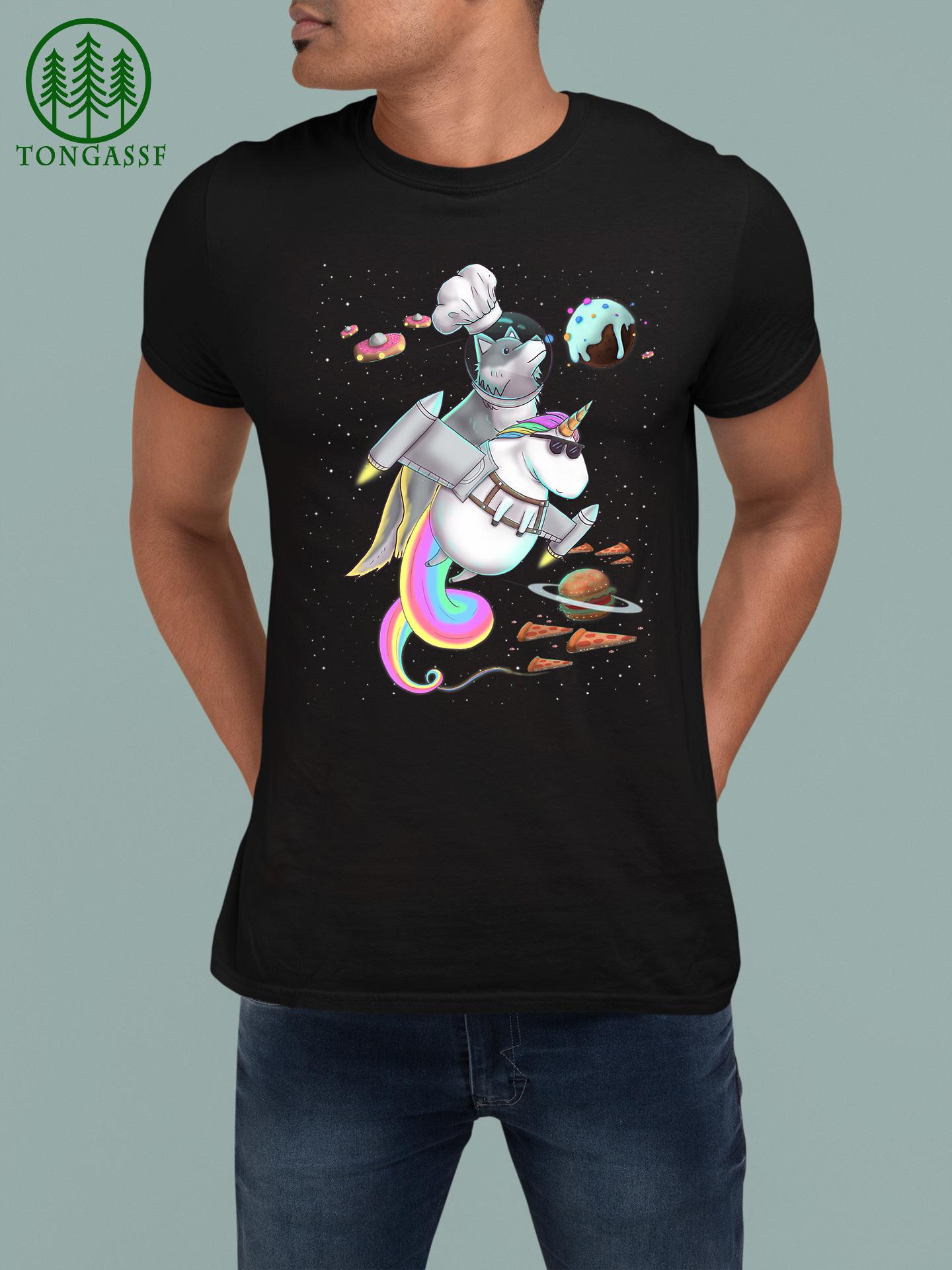 Wolf Riding Unicorn Food Pizza Space Party Planet Kawaii Premium T Shirt