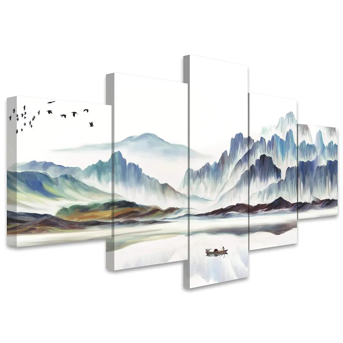 5 Piece White Mountain Wall Art