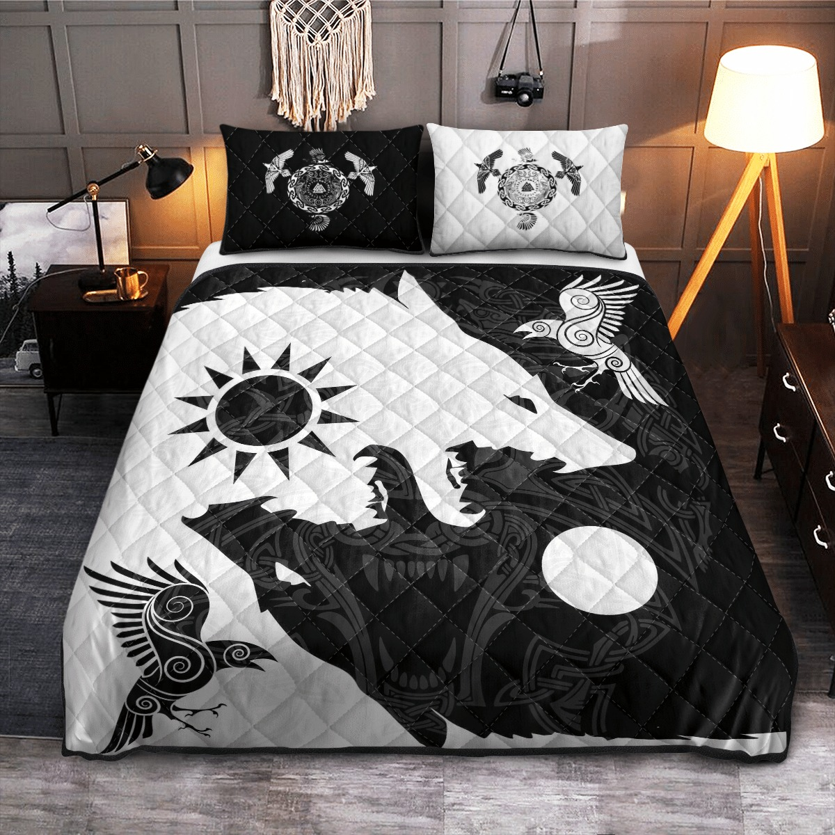 Yin Yang Wolf And Raven Viking Bedding Set