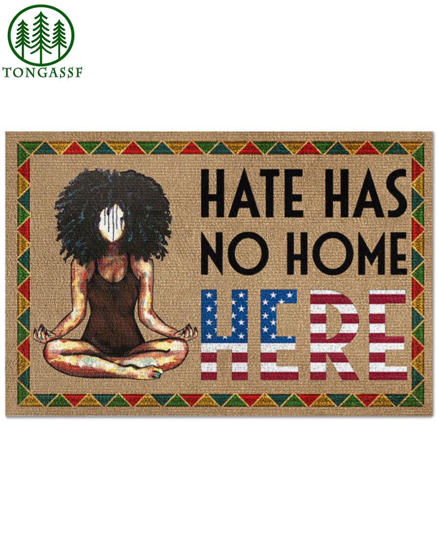 Yoga black girl Hate has no home here doormat