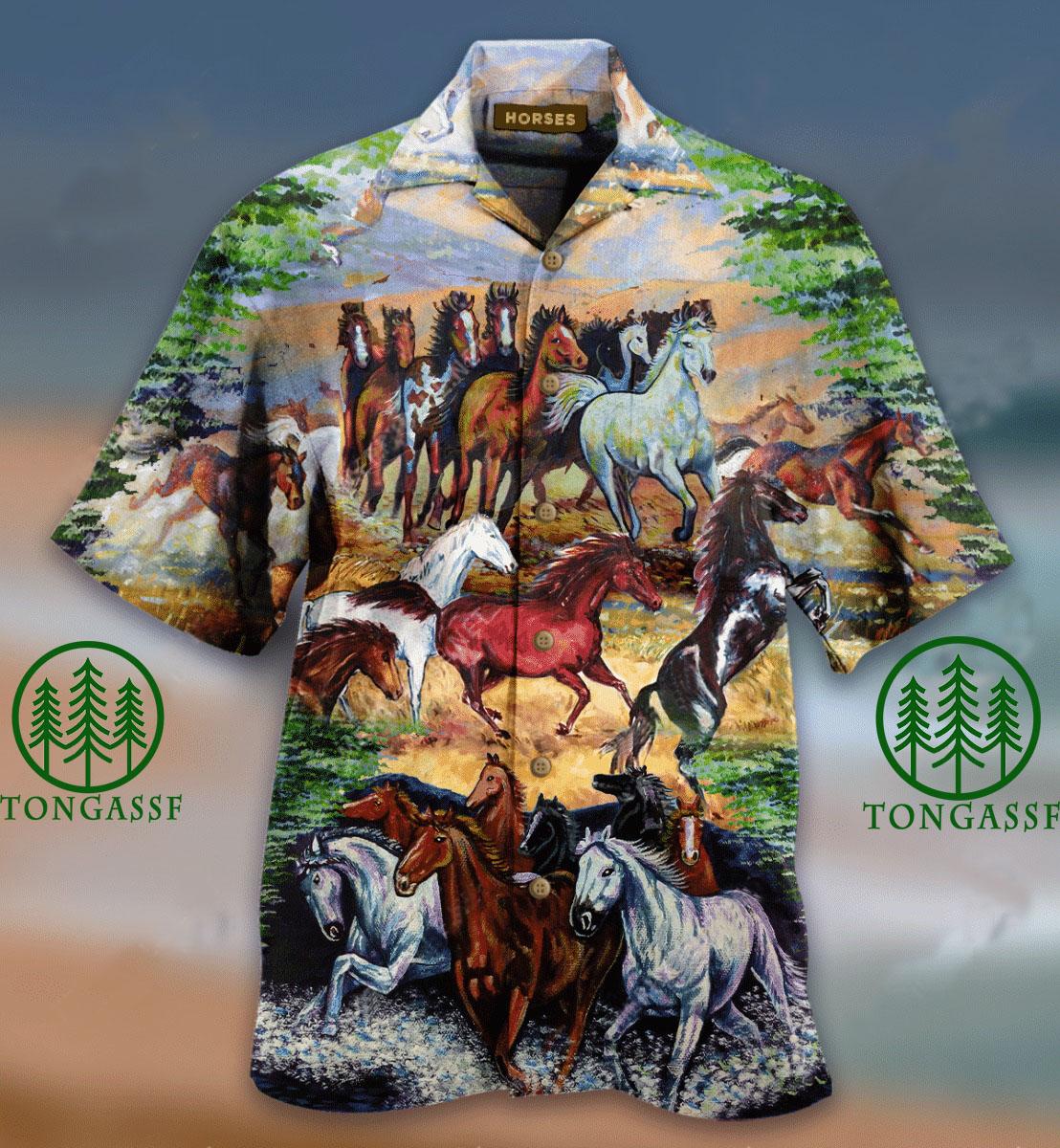 a herd of wild horses hawaiian shirt