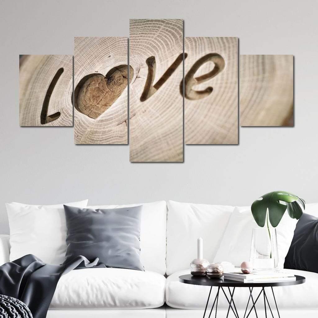 Love Tree Rings 5 panel wall art canvas