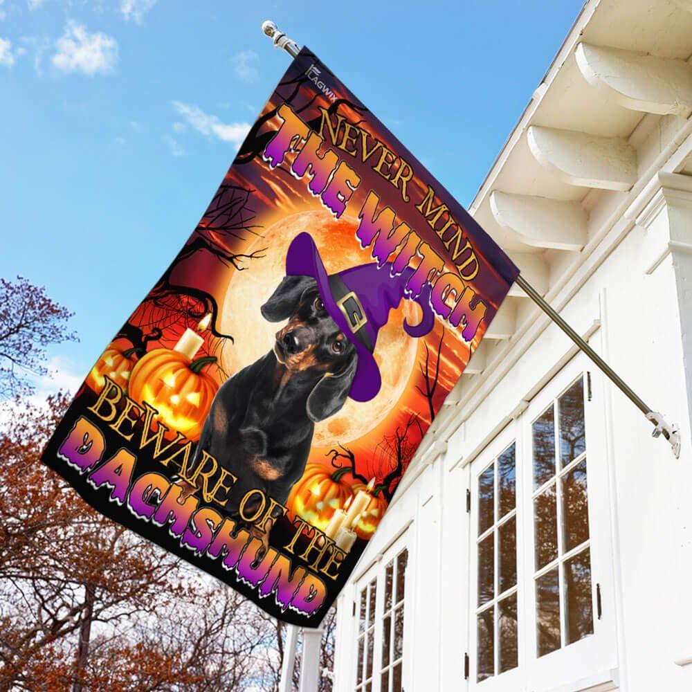 Halloween Golden Moon Beware Of The Dachshund Flag House Flag Garden Flag