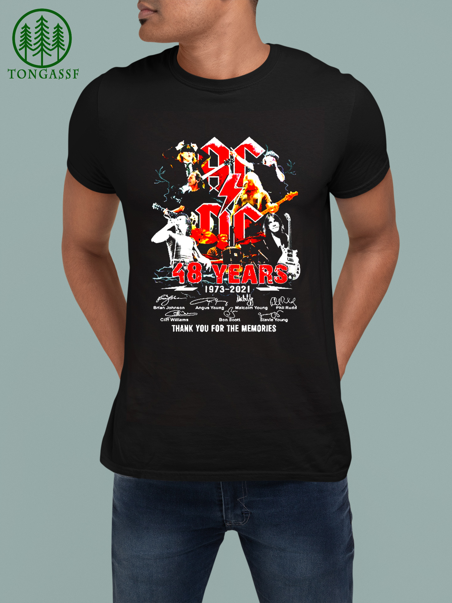 ACDC 48 years 1973 2021 thank you for the memories t shirt