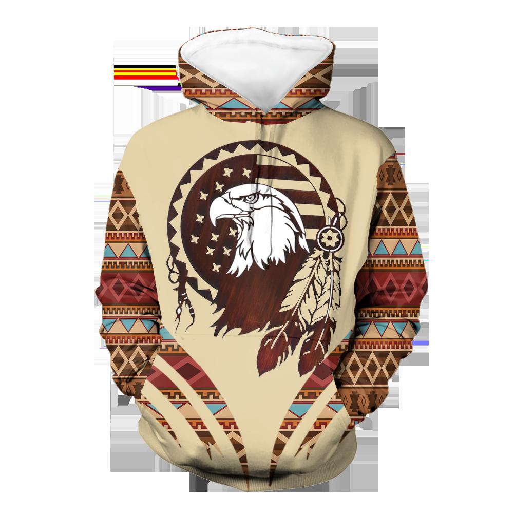 Eagle Pattern Brown Native 3D Hoodie