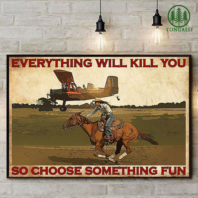 Airplane and horse cowgirl everything will kill you poster