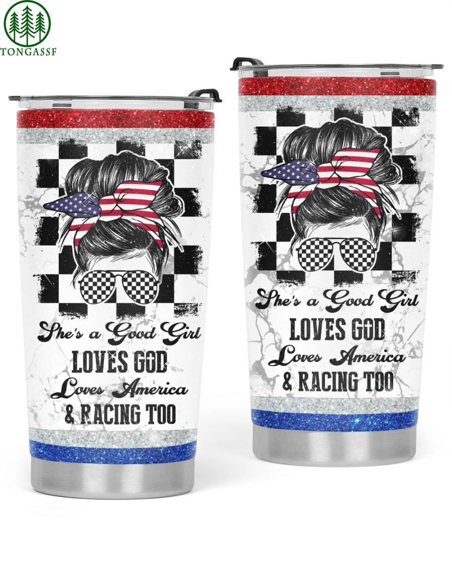 american girl love god and racing tumbler