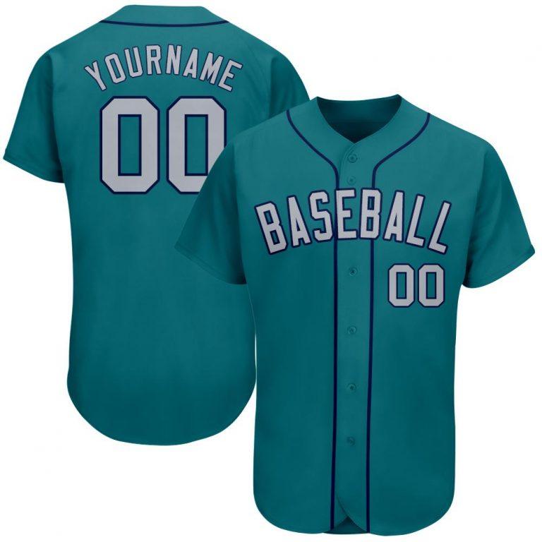 Custom Aqua Gray-Navy Authentic Baseball Jersey