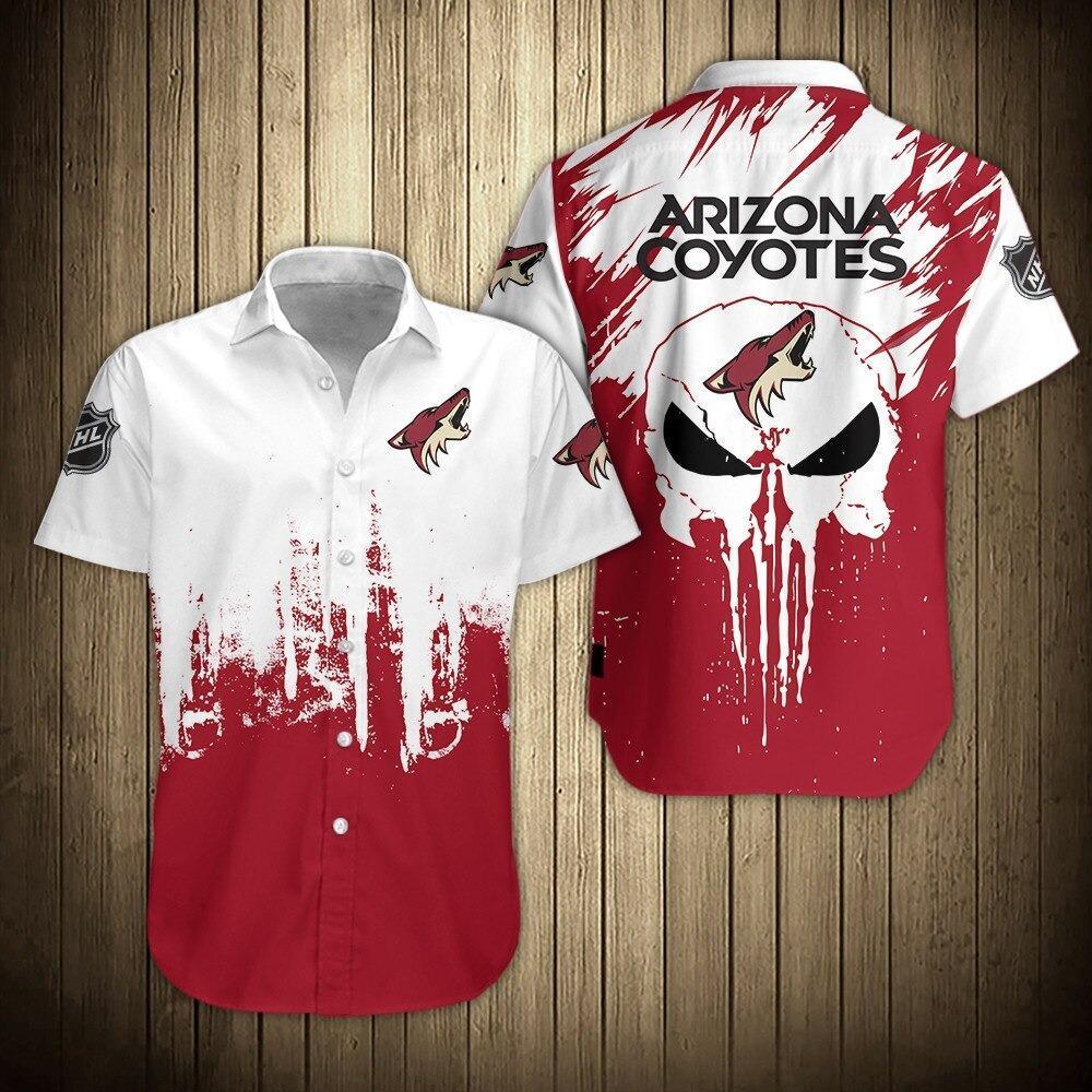 NHL Arizona Coyotes Skull Button Up Hawaiian Shirt