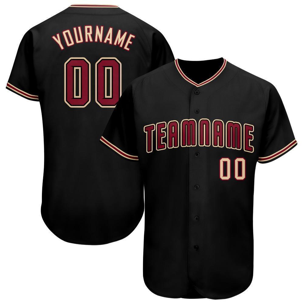 Custom Black Crimson-Khaki Baseball Jersey