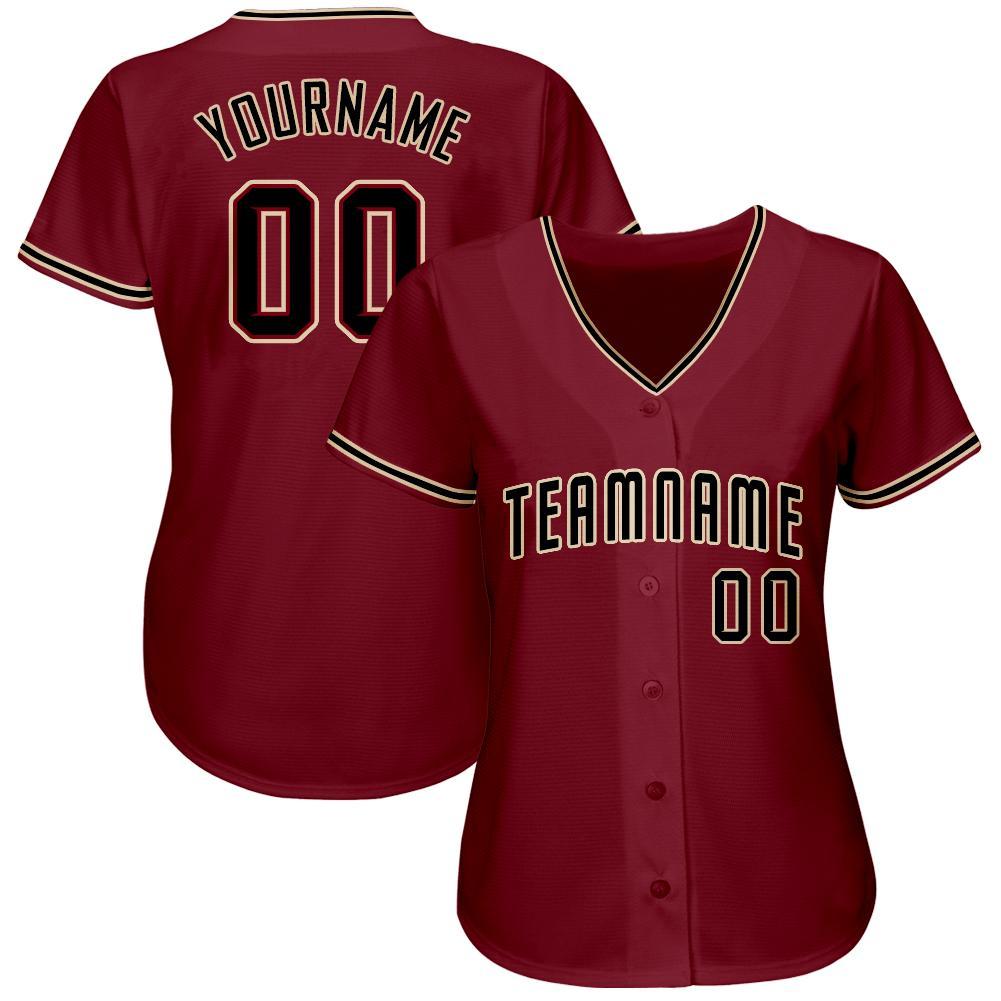 Custom Name and team Crimson Black-Khaki Baseball Jersey