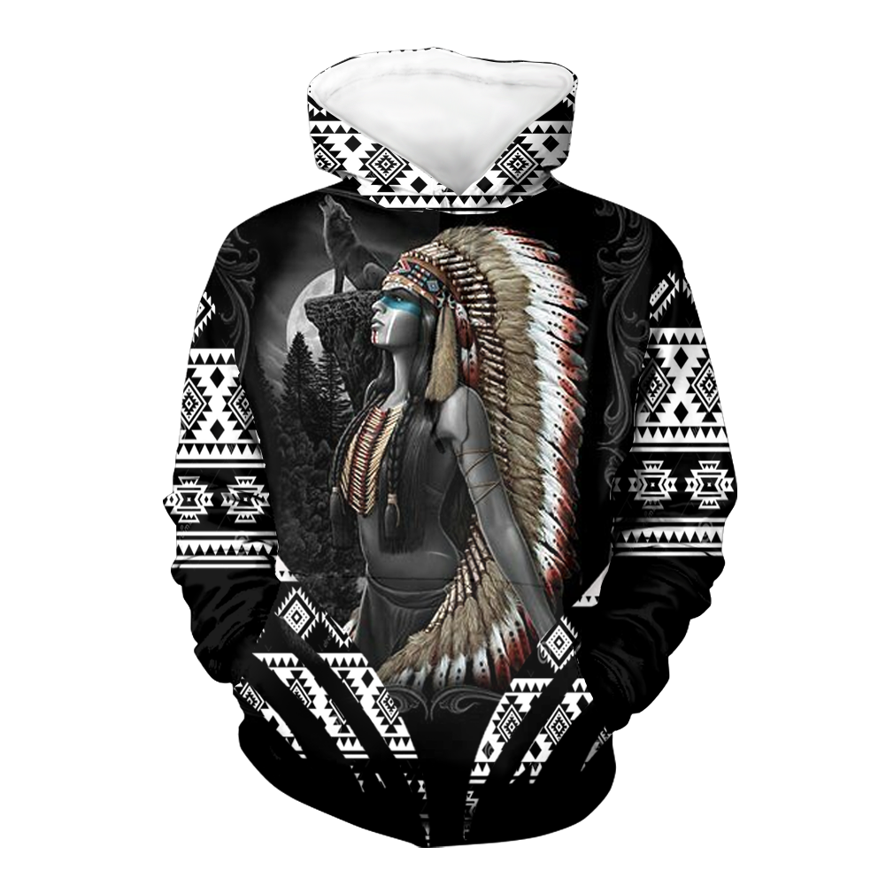 Girl Native with Aboriginal feather hat 3D Hoodie