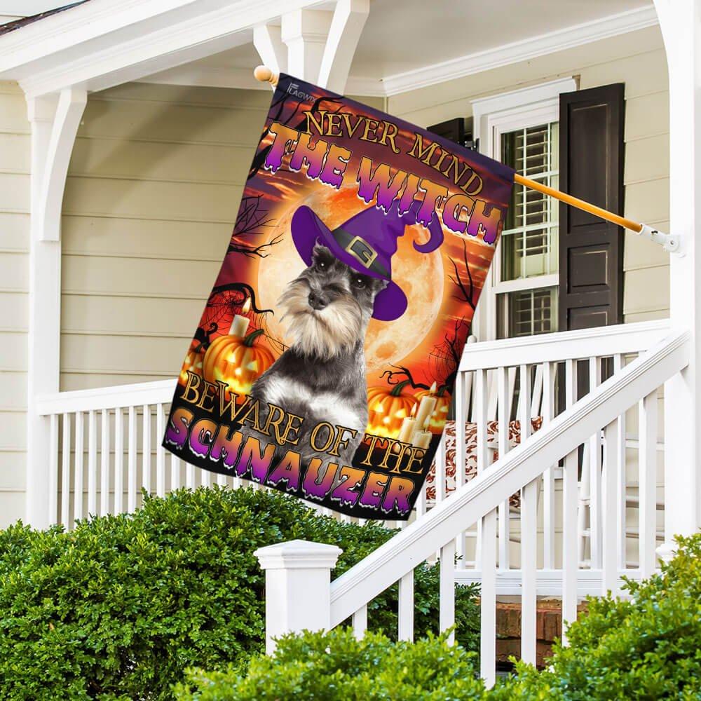 Halloween Beware Of The Schnauzer Golden Moon House Flag Garden Flag