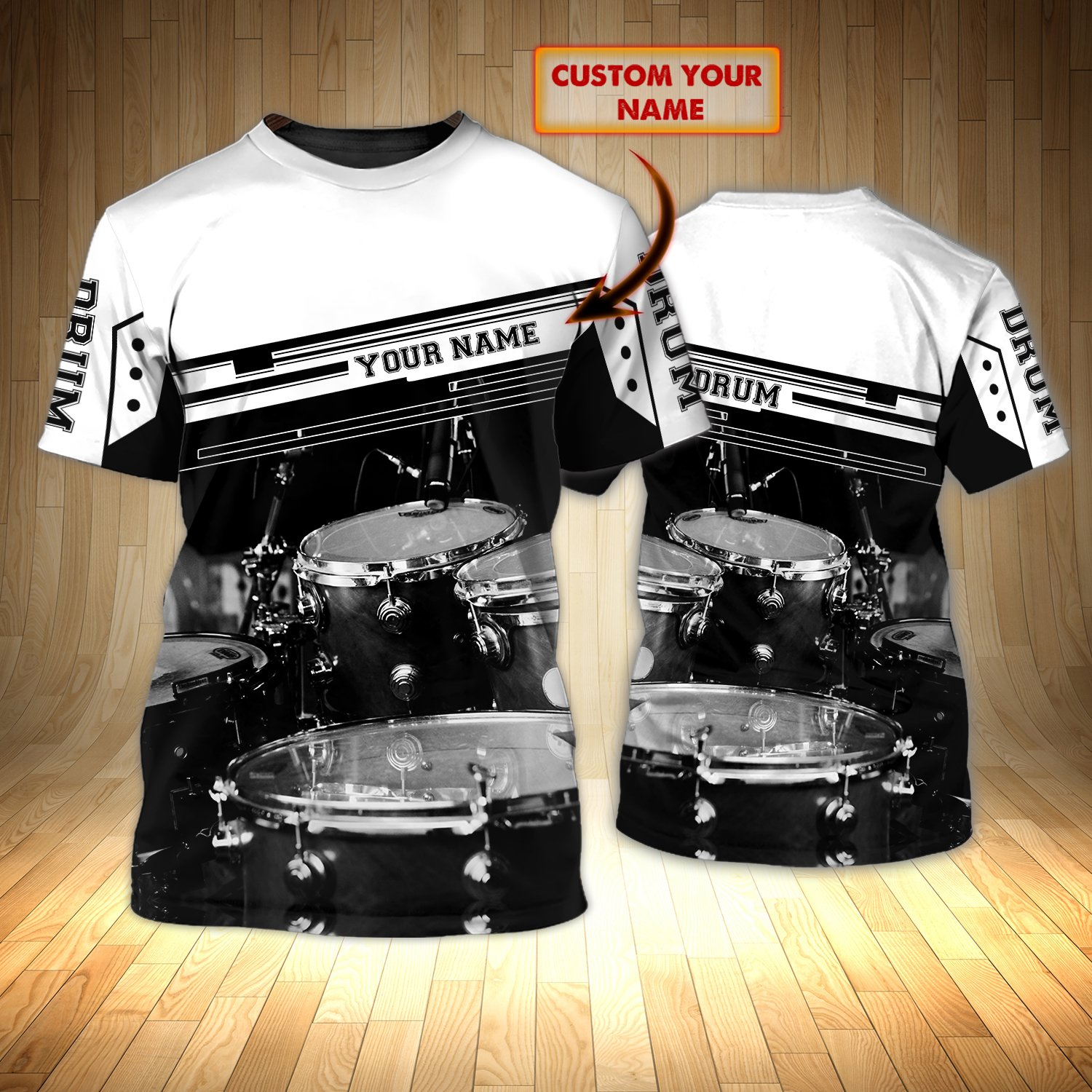 Drummer Black and White Personalized Name 3D Tshirt