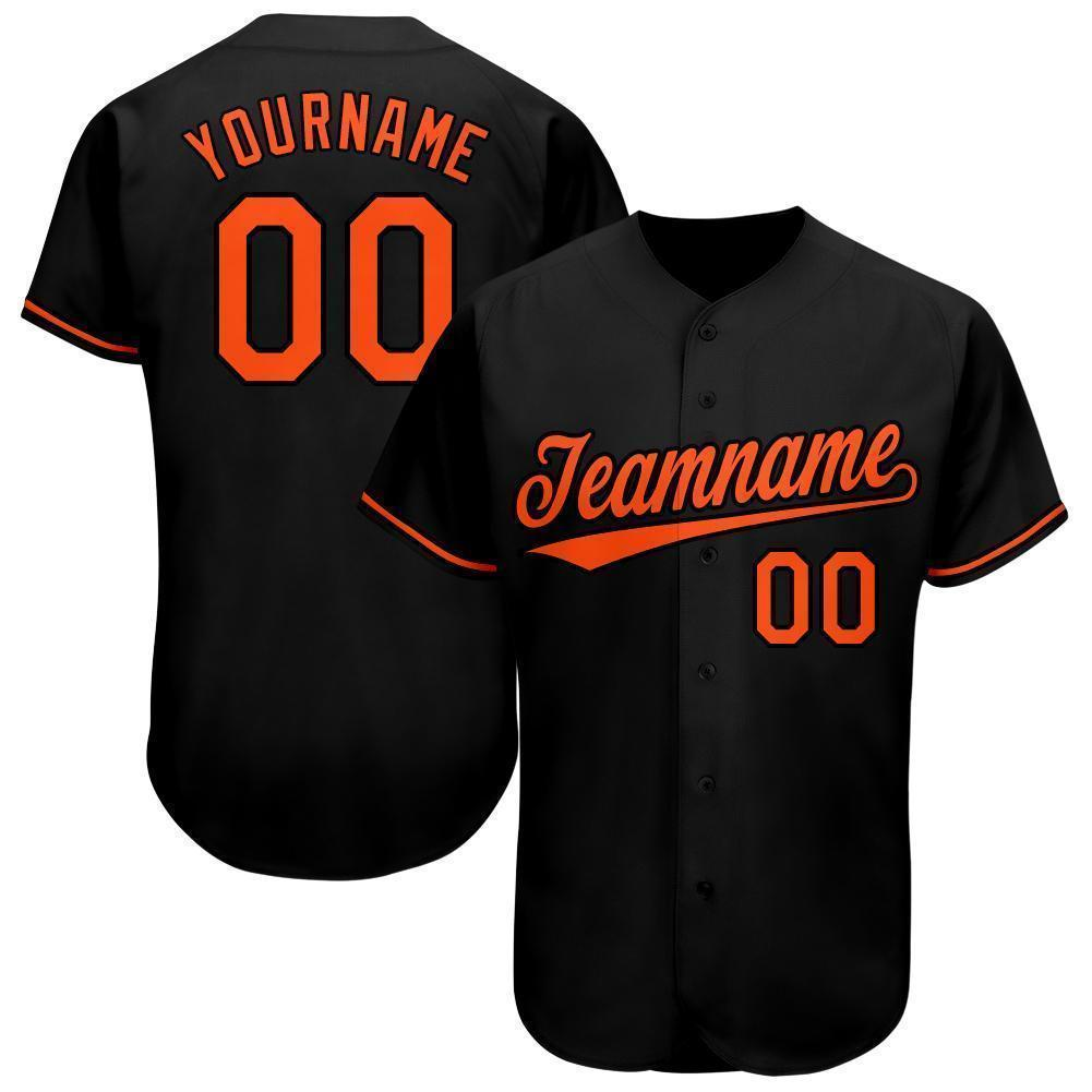 Custom Name and Number Black Orange Baseball Jersey Shirt