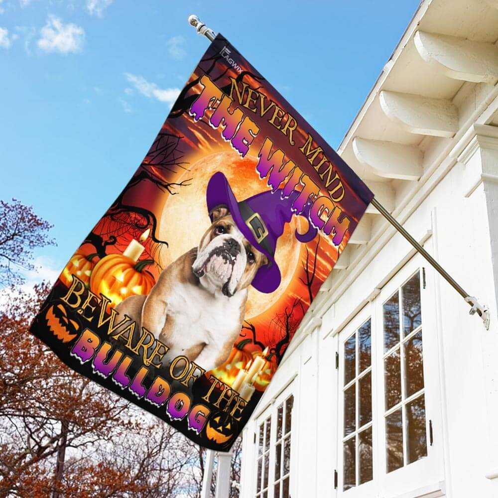 Bulldog Halloween Beware Of The Bulldog House Flag Garden Flag