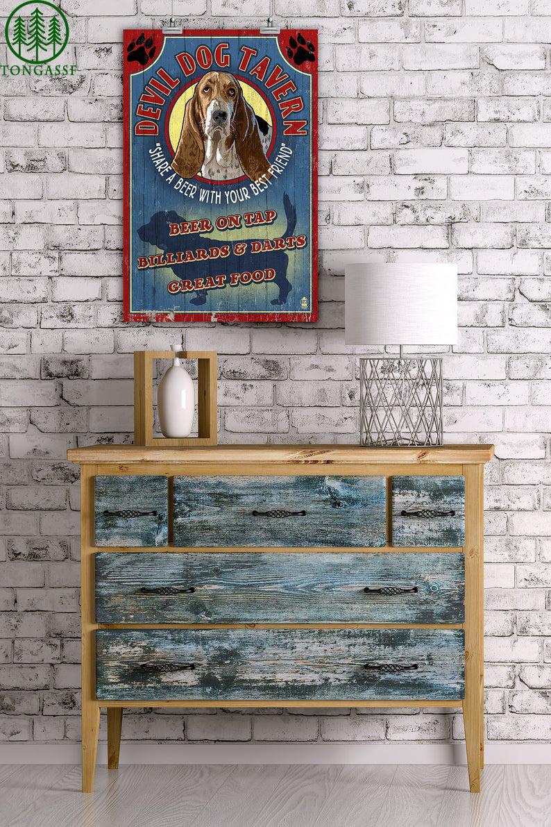 Beer on tap Basset Hound devil Tavern Vintage poster