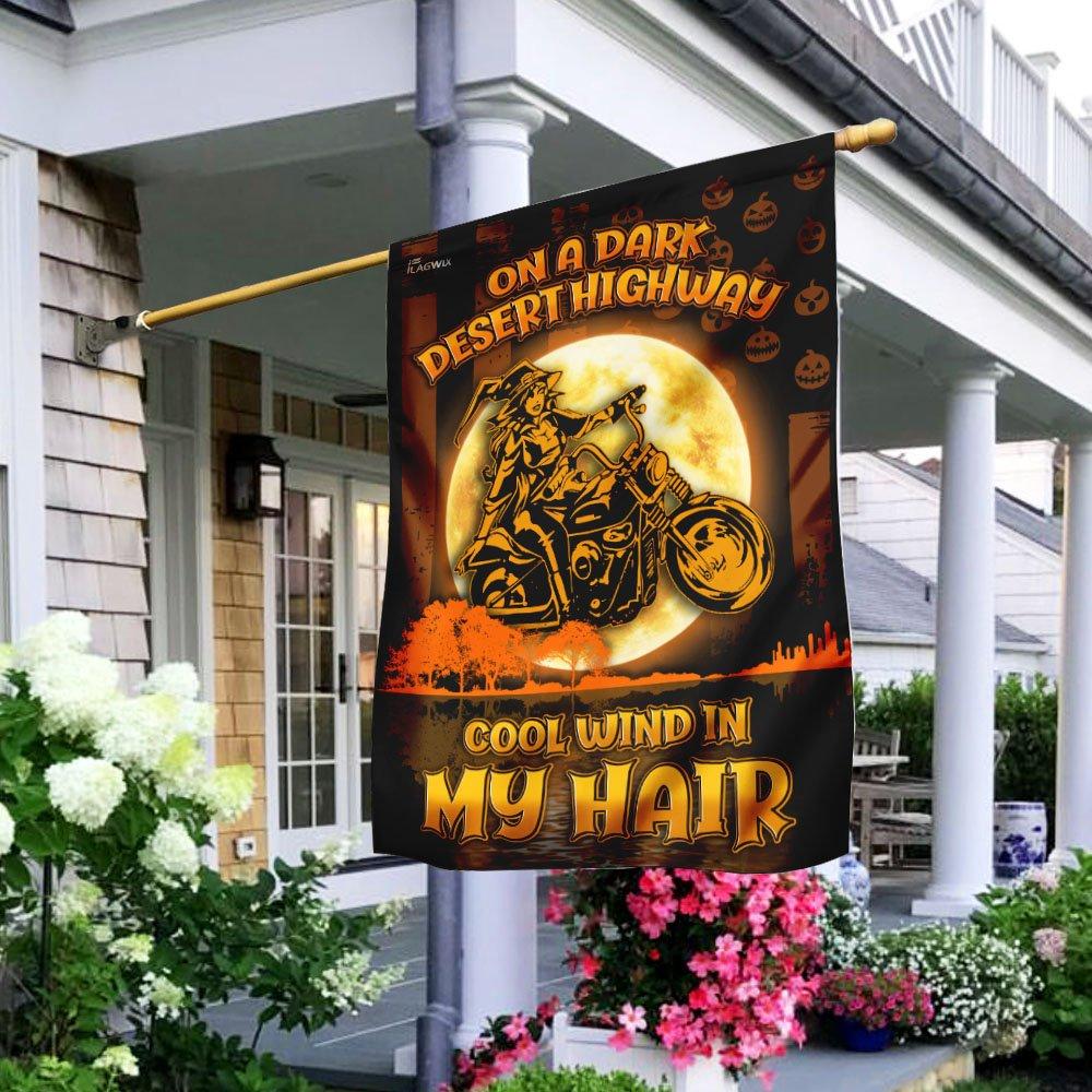 Motorcycle witch On A Dark Desert Highway Garden Flag House Flag