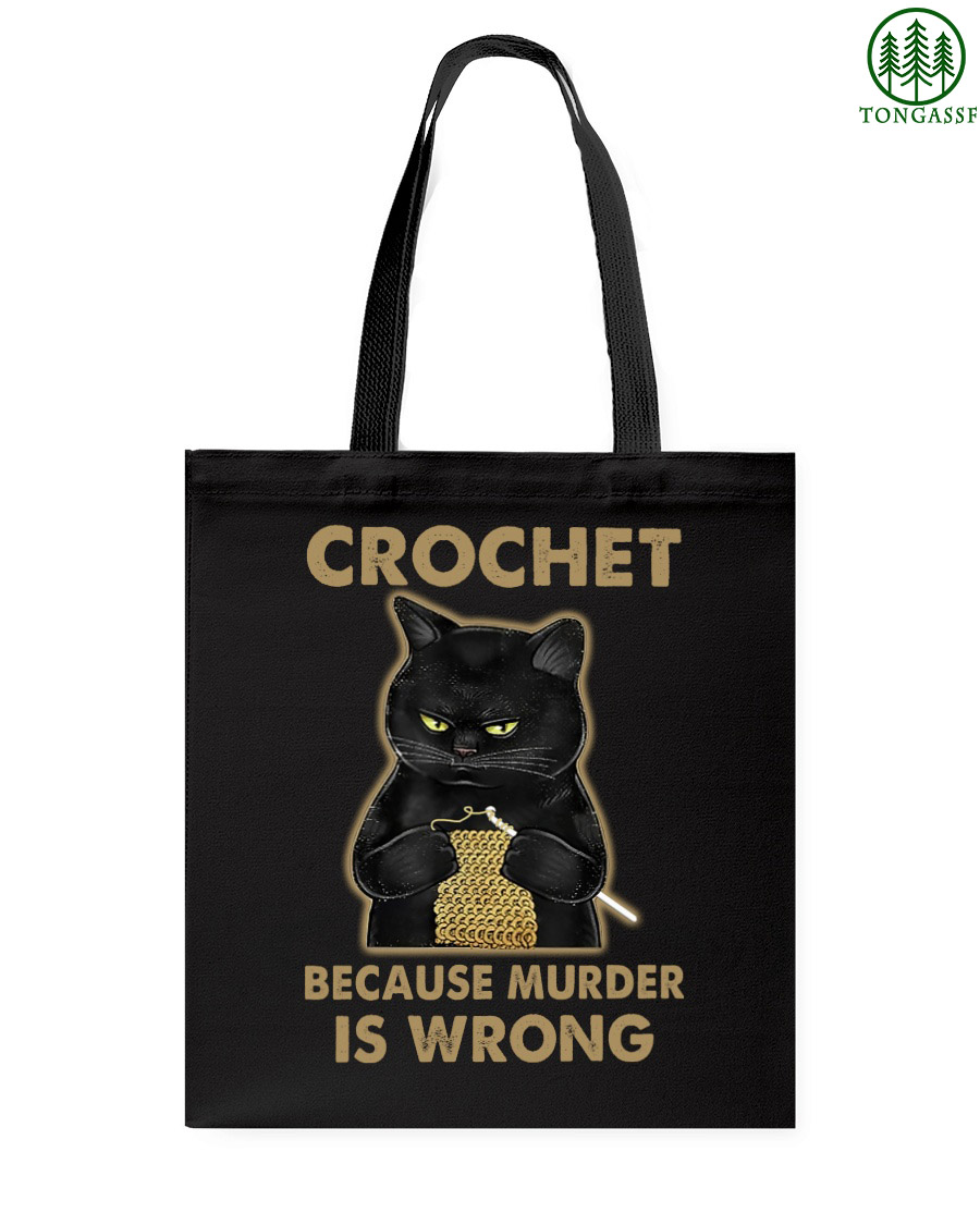 Black fat cat crochet because murder is wrong tote bag