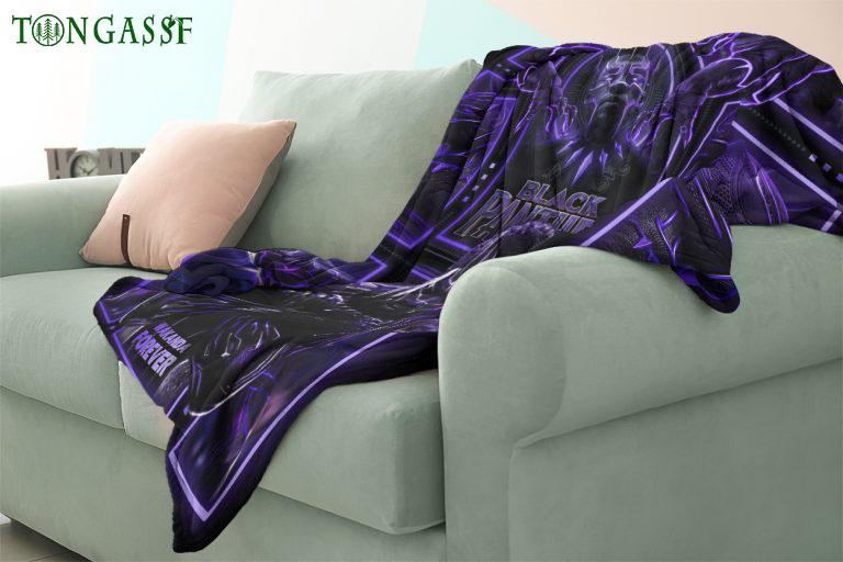 Black Panther Wakanda Forever purple fleece blanket