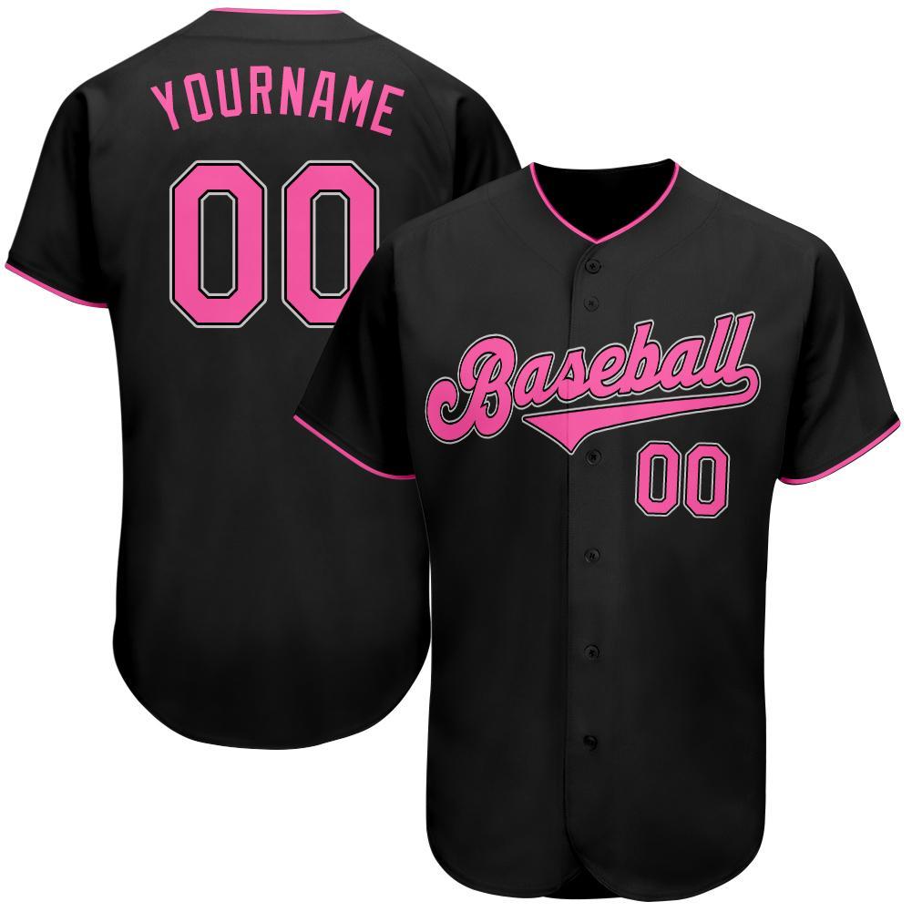 Personalized Black Pink-White Authentic Baseball Jersey Shirt