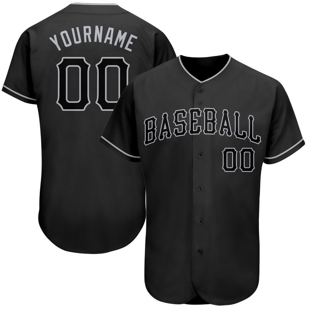 Personalized Black Black-Gray Authentic Baseball Jersey shirt