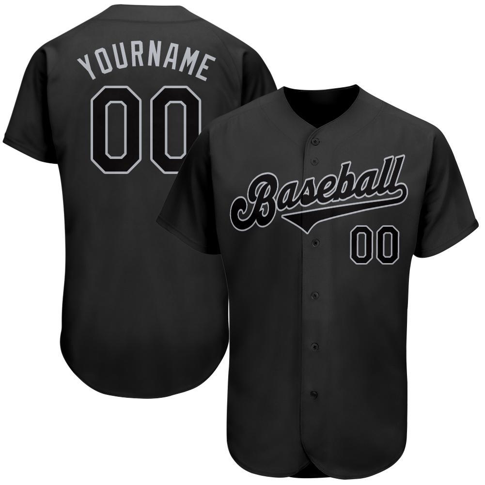 Custom Black Black-Gray Baseball Jersey for team