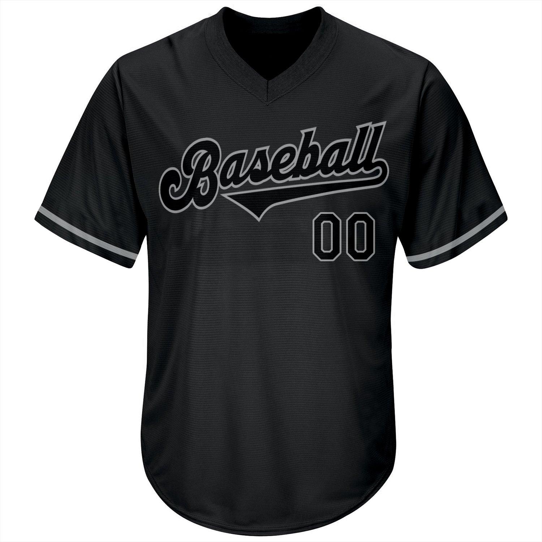 Custom Black Black-Gray Authentic Throwback Rib-Knit Baseball Jersey Shirt