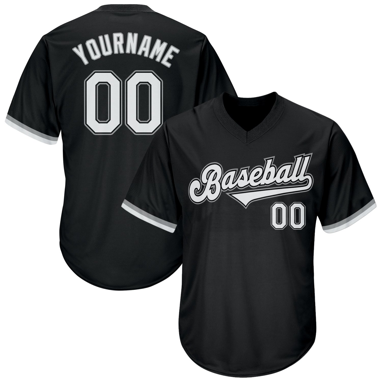 Custom Black White-Gray Authentic Throwback Rib-Knit Baseball Jersey Shirt