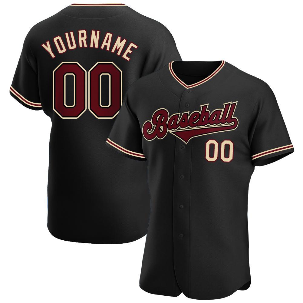 Personalized Black Crimson-Khaki Authentic Baseball Jersey