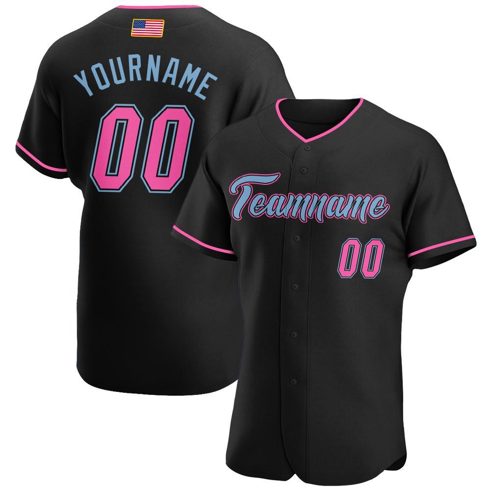 Custom Black Pink-Light Blue Authentic American Flag Premium Baseball Jersey