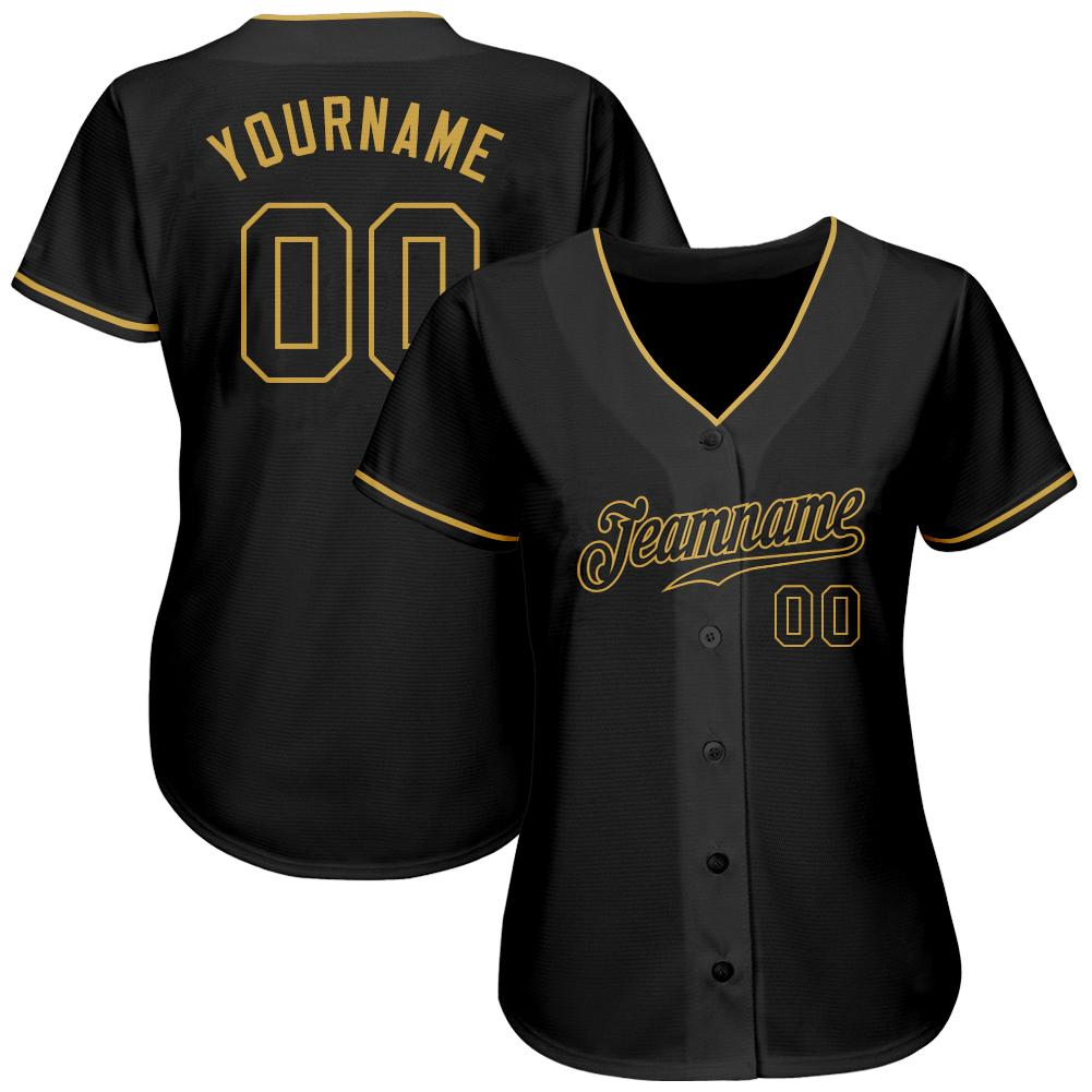 Personalized Black-Old Gold Authentic Baseball Jersey for team