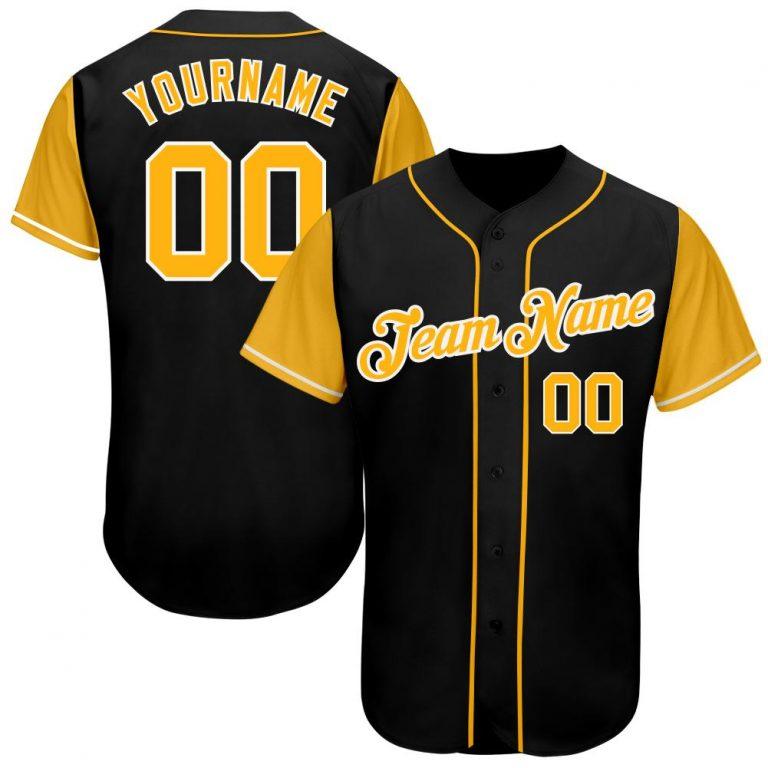 Custom Black Gold-White Authentic Baseball Jersey