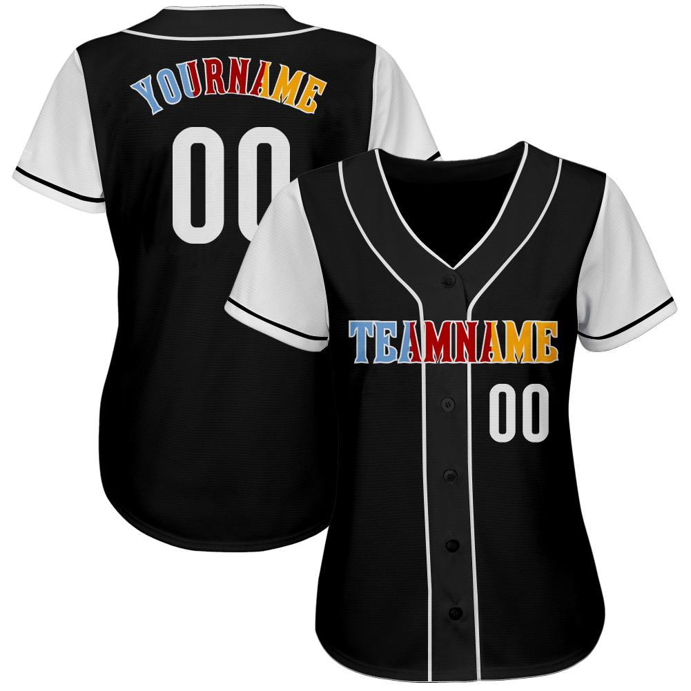 Custom Black White-Gold Authentic Baseball Jersey