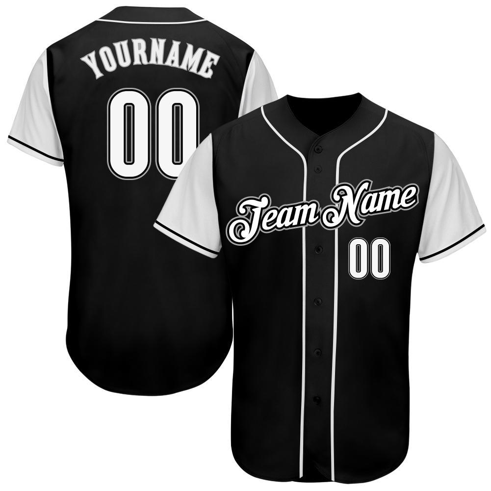 Custom Black White-Gray Authentic Baseball Jersey