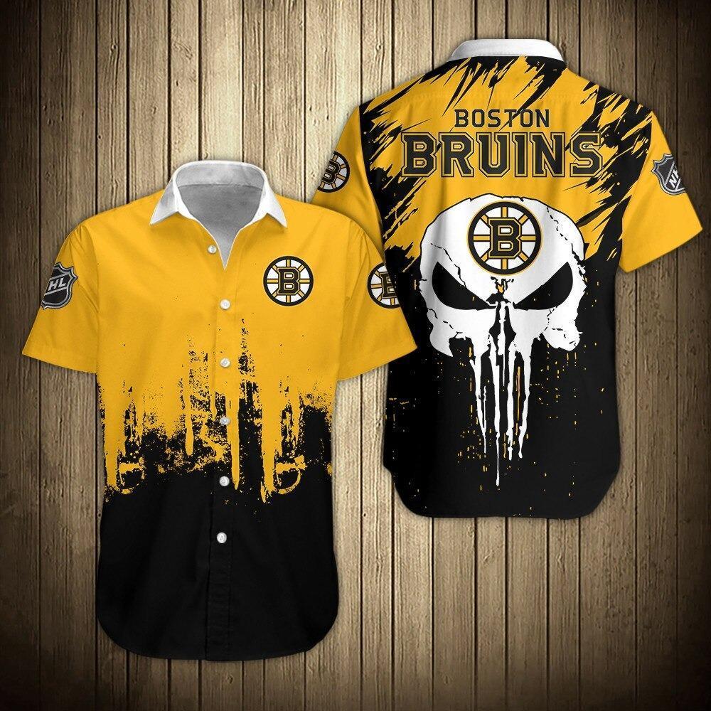 NHL Boston Bruins Shirts Skull Hawaiian Button Up Shirt