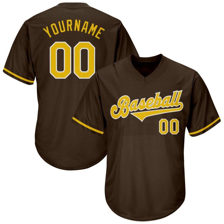 Custom Brown Gold-White Authentic Throwback Rib-Knit Baseball Jersey Shirt