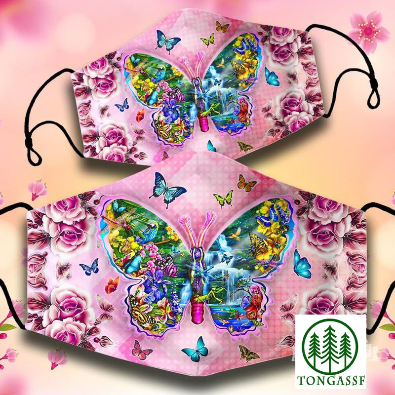 Butterfly pink flower nature face mask